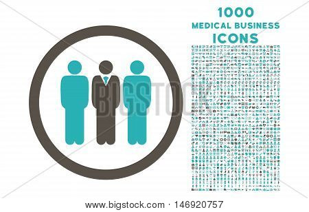 Clerk Staff rounded vector bicolor icon with 1000 medical business icons. Set style is flat pictograms, grey and cyan colors, white background.