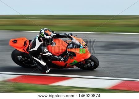 BUCHAREST, ROMANIA - SEP 27: An unidentified rider fell on track in the Romanian Championship Motorcycle Speed on Sep 27, 2015 at Adancata in Bucharest, Romania