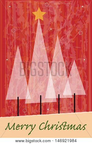 Stylized white Christmas trees on red abstract background with Merry Christmas text at the bottom. Eps10