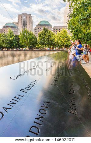 New York USA - SEP 3 2016. The National September 11 9/11 Memorial at the World Trade Center Ground Zero site.