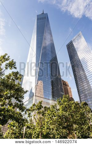 NEW YORK USA - SEPT 3 2016: View of One World Trade Center (Freedom Tower). in Lower Manhattan NYC