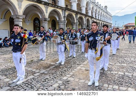 Antigua Guatemala - September 15 2015: Street parade during Guatemalan Independence Day celebrations outside the Palacio de los Capitanes Generales (Captain General Palace)
