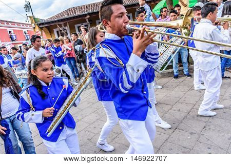 Antigua Guatemala - September 15 2015: Marching band in street parade during Guatemalan Independence Day celebrations