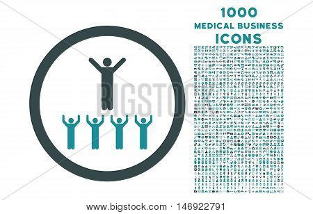 Religion Adepts rounded vector bicolor icon with 1000 medical business icons. Set style is flat pictograms, soft blue colors, white background.