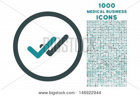 Validation rounded vector bicolor icon with 1000 medical business icons. Set style is flat pictograms, soft blue colors, white background.