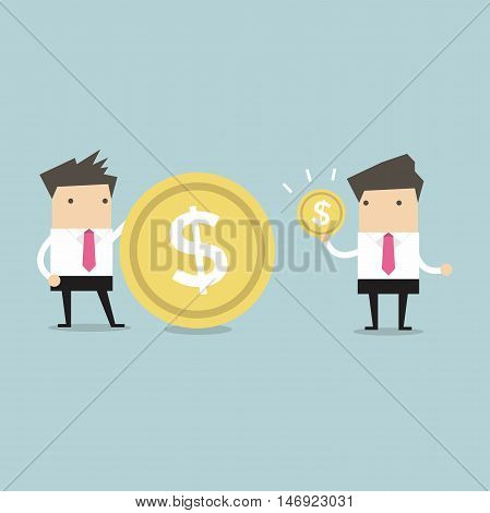 Businessmen comparing their income, coin. vector illustration