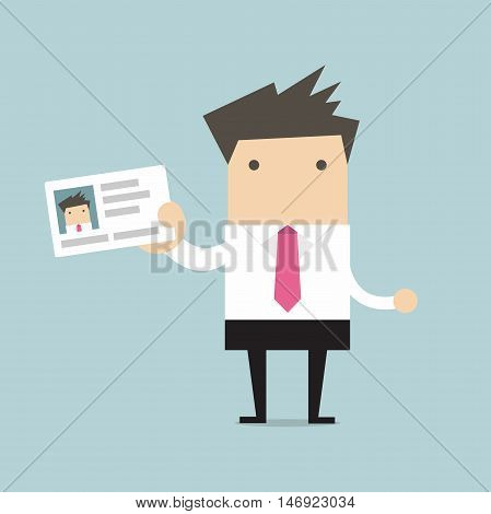 Businessman holding id card in flat style