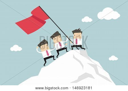 Businessman Team Climbing atop Peak, Teamwork concept