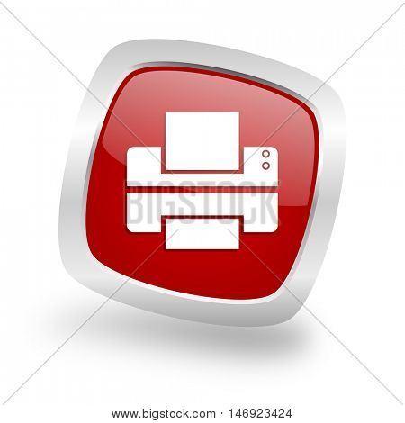 printer square glossy red chrome silver metallic web icon