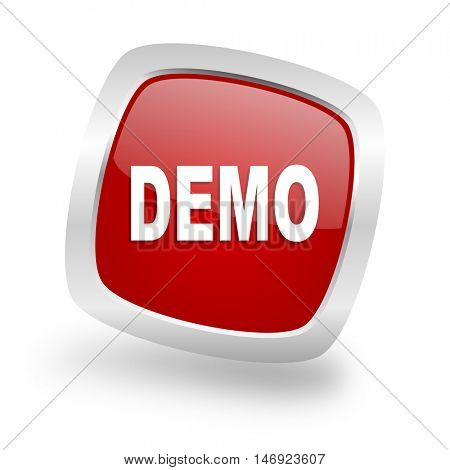 demo square glossy red chrome silver metallic web icon