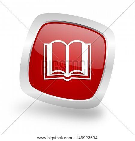 book square glossy red chrome silver metallic web icon