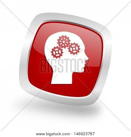 head square glossy red chrome silver metallic web icon