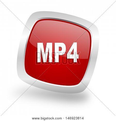 mp4 square glossy red chrome silver metallic web icon