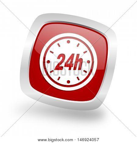 24h square glossy red chrome silver metallic web icon