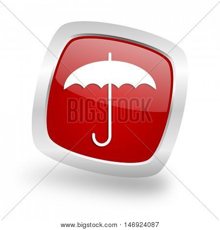 umbrella square glossy red chrome silver metallic web icon