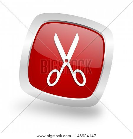scissors square glossy red chrome silver metallic web icon