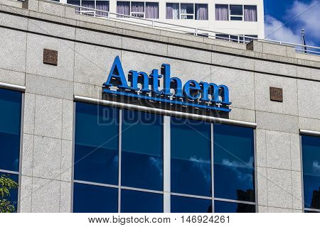 Indianapolis - Circa September 2016: Anthem World Headquarters. Anthem is a Trusted Health Insurance Plan Provider IX