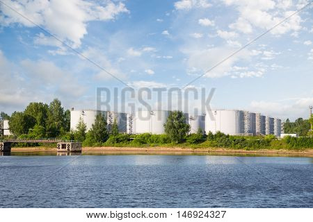 Oil tankers oil port on the river bank