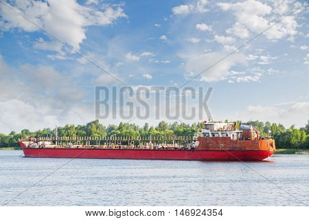 River oil tanker goes on the Volga river in Russia