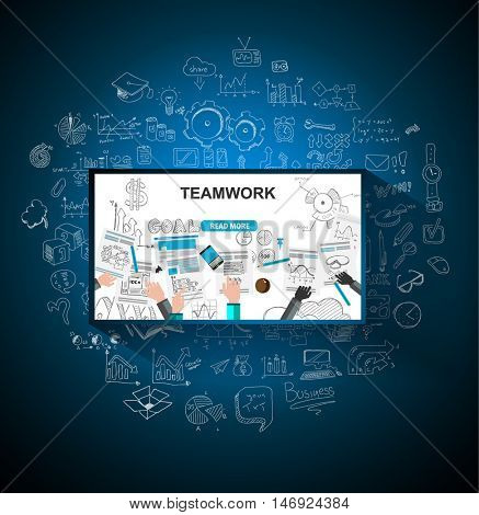 Teamwork Business concept with doodles Sketch background: infographics  It include lots of icons included graphs, stats, devices,laptops, clouds, concepts and so on.