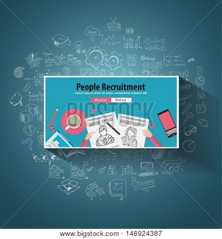 People Recruitment concept  with Doodle design style :people inteview, skill testing, clear selection. Modern style illustration for web banners, brochure and flyers.
