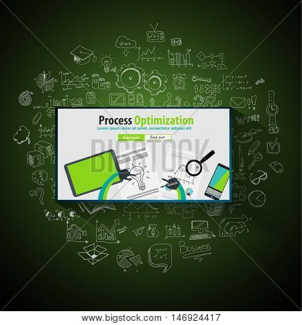 Process Optimization and Production Check Up concept with Doodle design style :physical check, parts testing .Modern style illustration for web banners, brochure and flyers.