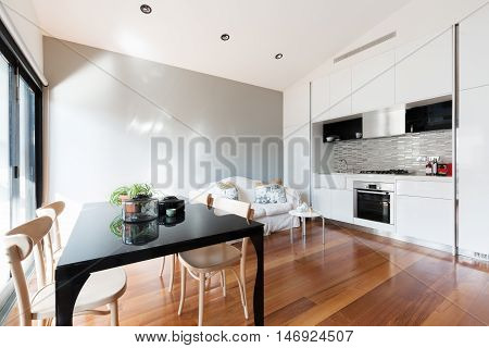 Open plan small apartment with kitchenette dining table and sofa