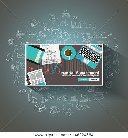 Financial Management concept with Doodle design style: online purchases, banking, money spending. Modern style illustration for web banners, brochure and flyers.