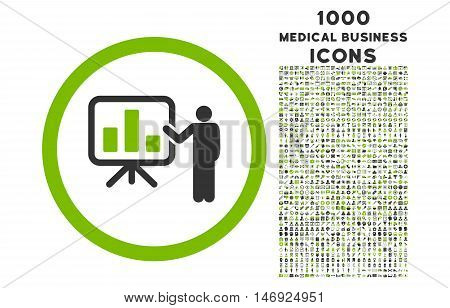 Bar Chart Presentation rounded glyph bicolor icon with 1000 medical business icons. Set style is flat pictograms, eco green and gray colors, white background.