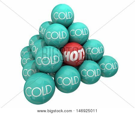 Hot Vs Cold Balls Pyramid Heat Cool Temperature 3d Illustration