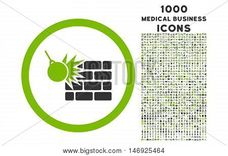 Wall Destruction rounded glyph bicolor icon with 1000 medical business icons. Set style is flat pictograms, eco green and gray colors, white background.