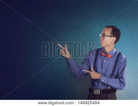 Asian Funny Guy Pointing Something