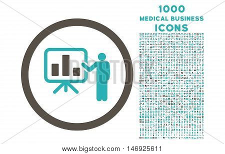 Bar Chart Presentation rounded glyph bicolor icon with 1000 medical business icons. Set style is flat pictograms, grey and cyan colors, white background.