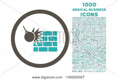 Wall Destruction rounded glyph bicolor icon with 1000 medical business icons. Set style is flat pictograms, grey and cyan colors, white background.