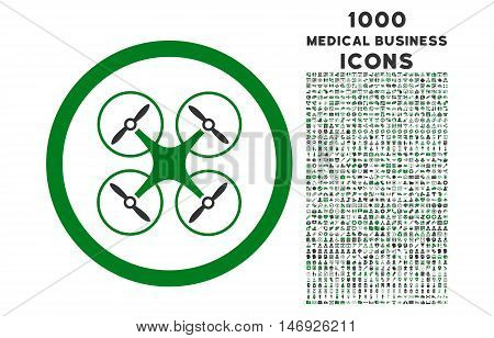 Copter rounded glyph bicolor icon with 1000 medical business icons. Set style is flat pictograms, green and gray colors, white background.