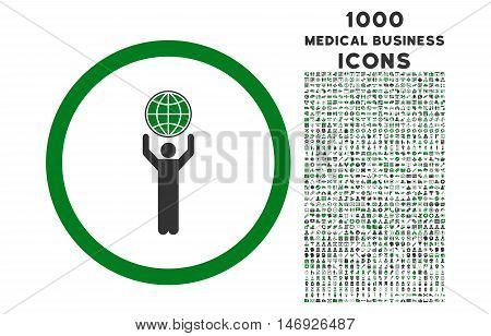 Globalist rounded glyph bicolor icon with 1000 medical business icons. Set style is flat pictograms, green and gray colors, white background.