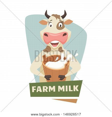 Cow with milk label or badge. Dairy farm logo. Natural food, organic product, locally grown. Cartoon cow with bucket of milk. Cute and funny dairy cow. Farmers market label
