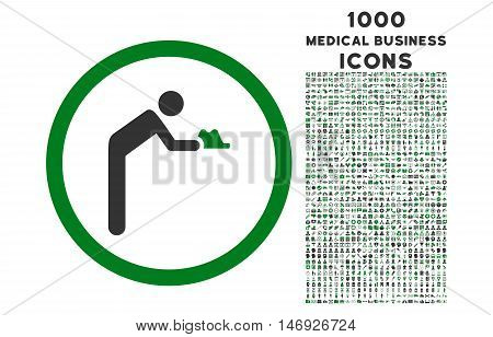 Servant rounded glyph bicolor icon with 1000 medical business icons. Set style is flat pictograms, green and gray colors, white background.