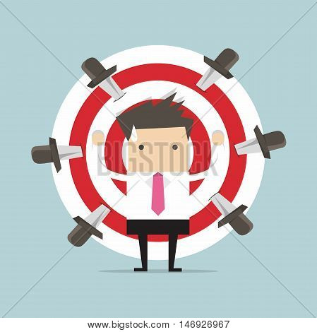 Businessman on target with knives vector illustration