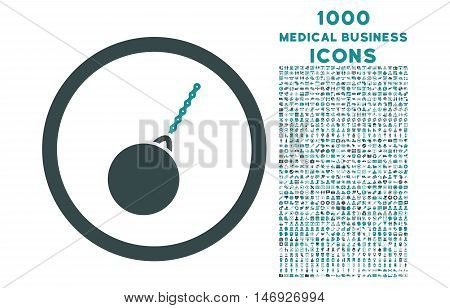 Destruction Hammer rounded glyph bicolor icon with 1000 medical business icons. Set style is flat pictograms, soft blue colors, white background.