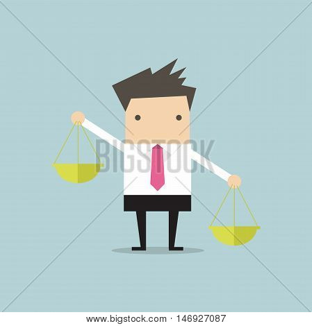 Businessman carrying a balance scale with both hands