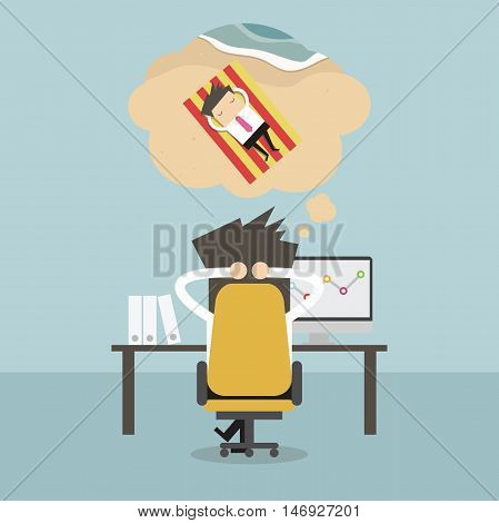 Businessman dreaming about long weekend vacation. vector illustration