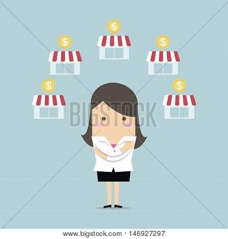 Businesswoman planing franchise shop business vector illustration