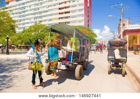 CIEGO DE AVILA, CUBA - SEPTEMBER 5, 2015: Local transportation product of the embargo and lack of cars in Downtown of Ciego de Avila. Located in the central part of Cuba