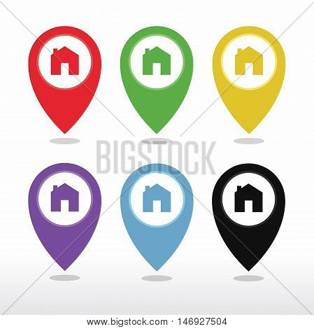 Map pointer house sign icon. Home location marker symbol. Round colorful vector