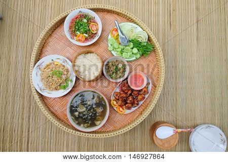 The native set of food that very popular for the people in the northeastern and the north of Thailand including Lao. prepared for tradition lunch or dinner.