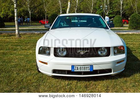 Mogliano VenetoItaly Sept 112016:Photo of a Ford Mustang GT at meeting Top Selection 2016.The fifth generation began with the 2005 model year to 2014.