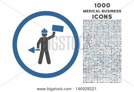 Builder With Shovel rounded glyph bicolor icon with 1000 medical business icons. Set style is flat pictograms, cobalt and gray colors, white background.