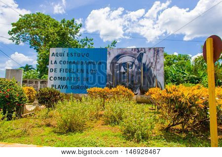 BAY OF PIGS, CUBA - SEPTEMBER 9, 2015: Revolucion propaganda billboard posted by the goverment.