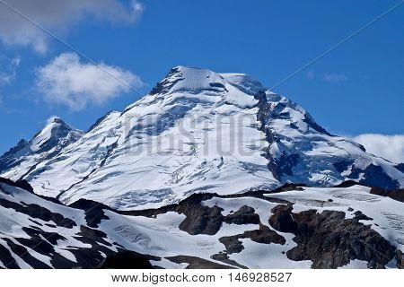 Glacier with crevasses on Mount Baker. Cascade Mountains. Mount Baker National Forest. Seattle. Washington. USA.